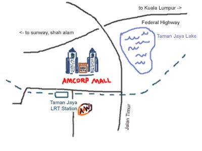 map to Amcorp Mall, Petaling Jaya