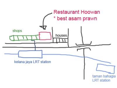 Map to Asam Prawn at Kelana Jaya