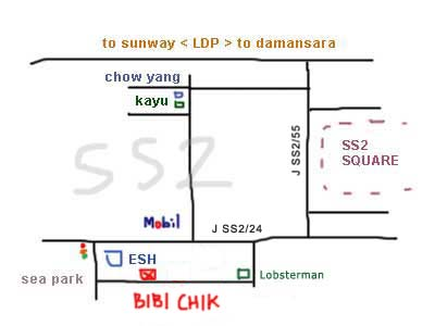 map to Restaurant Bibichik, Nyonya food, SS2