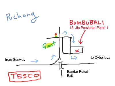 Map to BumbuBali at Puchong