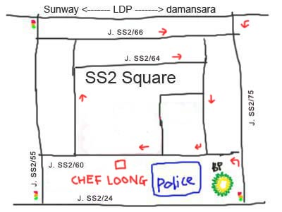 map to Chef Loong at PJ SS2 (龙师傅)