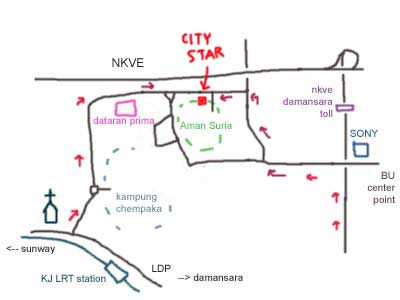 Map to Dataran Prima, City Star Seafood