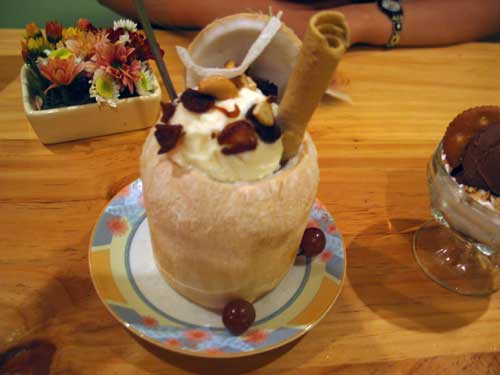 Vietnamese coconut ice cream at Ho Chi Minh City