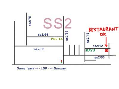 map to Restaurant Okay, PJ SS 2