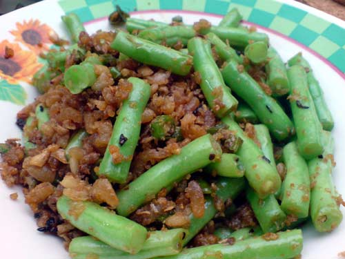 French Beans with Dried Shrimp (虾米玉豆 )