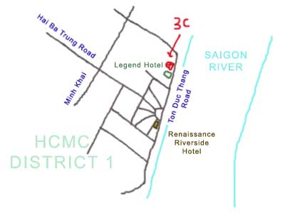 map of District 1, Ho Chi Minh City, Vietnam