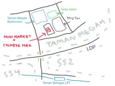 map to taman megah