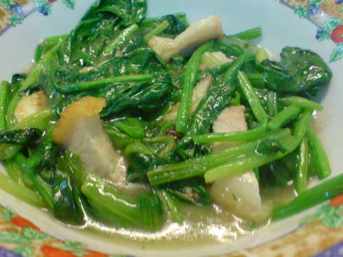 Hong Kong Kailan with Roasted Pork