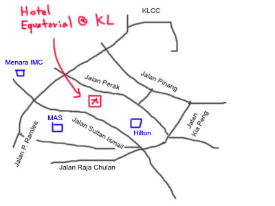 Map of Hotel Equatorial Kuala Lumpur