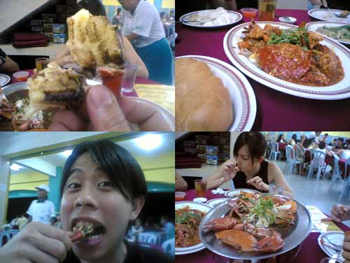 eating crab at kepong