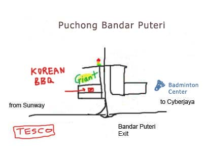 Dae Jang Gum Korean BBQ, map of Puchong