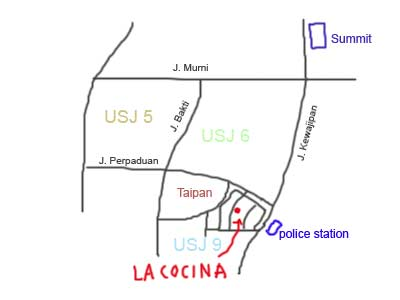 Map to La Cocina in USJ Taipan