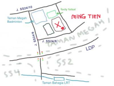 Map to Ming Tien, PJ Taman Megah