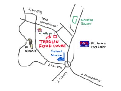 map to tanglin foodcourt, KL near birdpark