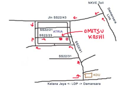 Omitsu Koshi, Japanese food, map to Damansara Jaya