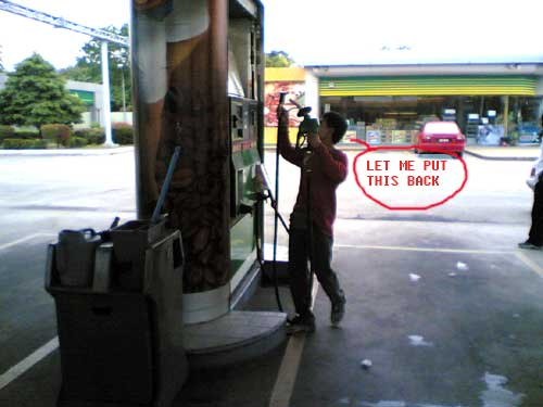 trying to hook up the petrol dispenser