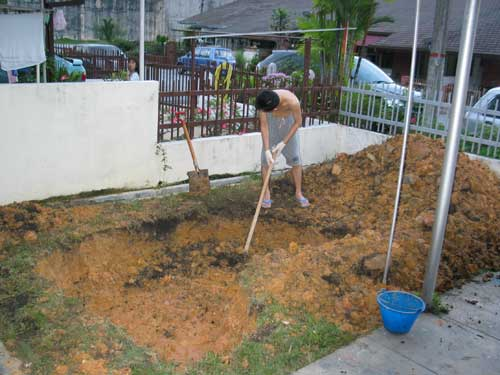 digging work for a concrete koi pond