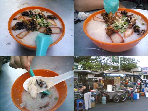 pork intestine porridge in new lane, Penang