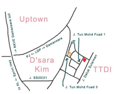 map to Restaurant Yon Lee, TTDI