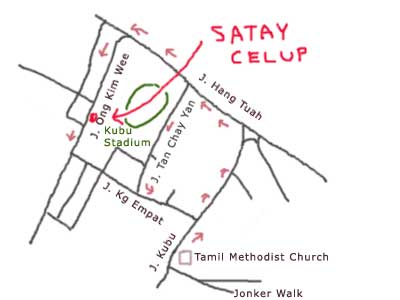 Map to Satay Celup at Ban Lee Siang, Melaka