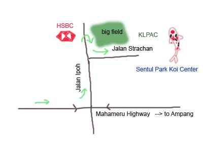 Map to Sentul Park Koi Center