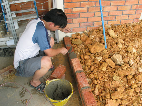 brick work to elevate the garden