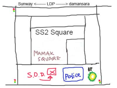 Map to Restaurant SOD at PJ SS2