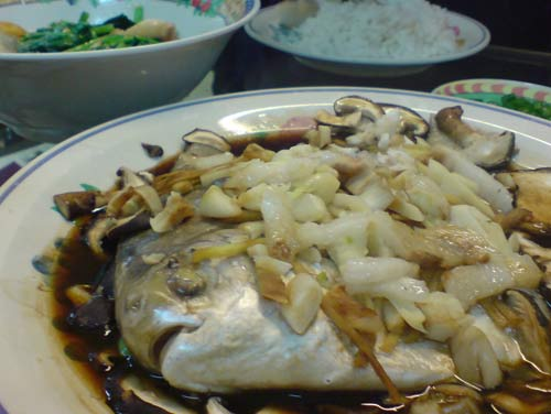 Steamed Pomphret with garlic, ginger, and mushroom