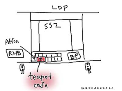 map of Petaling Jaya SS2, teapot cafe