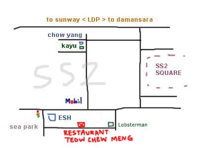 map to SS2, Restaurant Teow Chew Meng