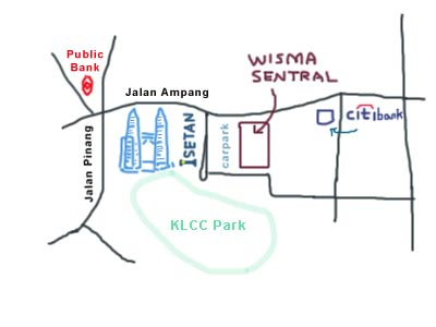 map to Wisma Sentral, near KLCC
