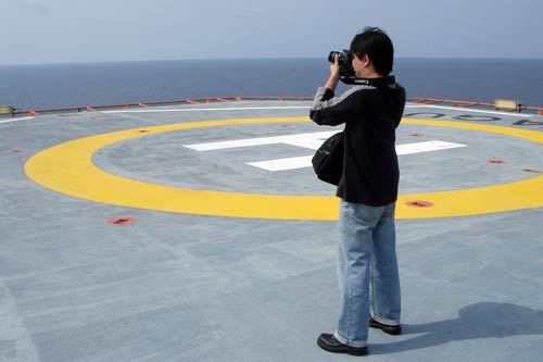 Heli-deck at Yetagun Off-Shore Gas Platform, Myanmar