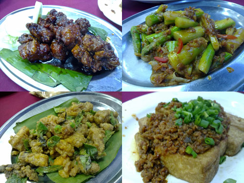 guinness pork ribs, asparagus, salted egg squid, tofu with minced pork