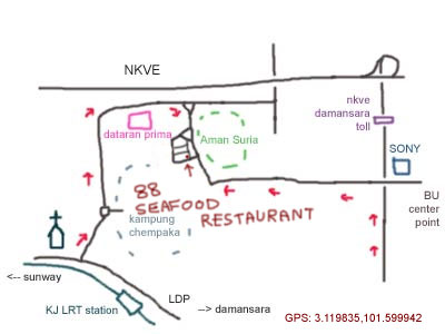 map to Sunway Mas Commercial Center, 88 Seafood Restaurant