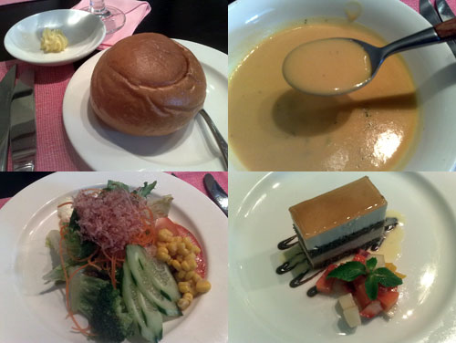 bun with butter, soup, salad, dessert