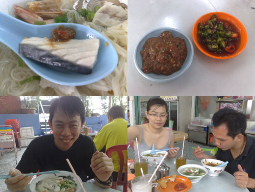 fish noodle with sambal, KY, Rachel, and Horng