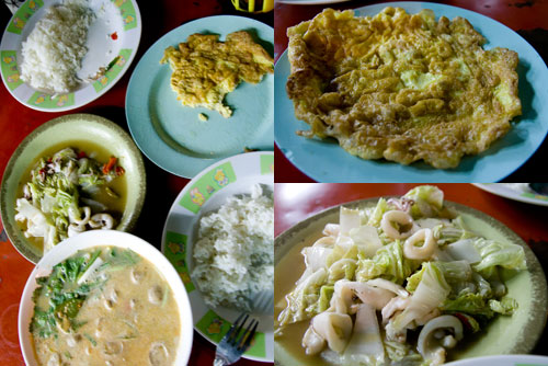 egg, squid with cabbage, and tomyam