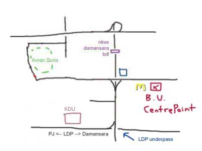 map to Bandar Utama Centrepoint