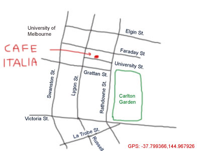 map to cafe italia at lygon street, Melbourne