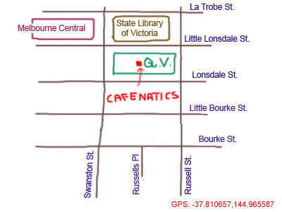 map to cafenatics at QV, Melbourne