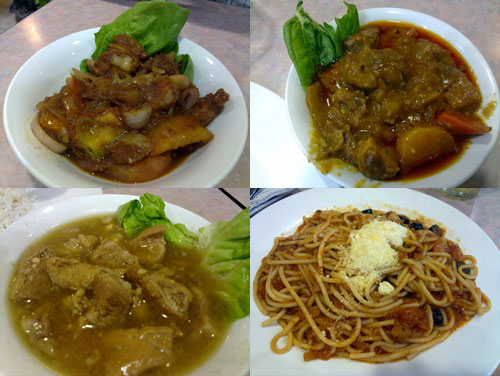 pork adobo, caldereta (lamb curry), pork binagoongan, french rivera