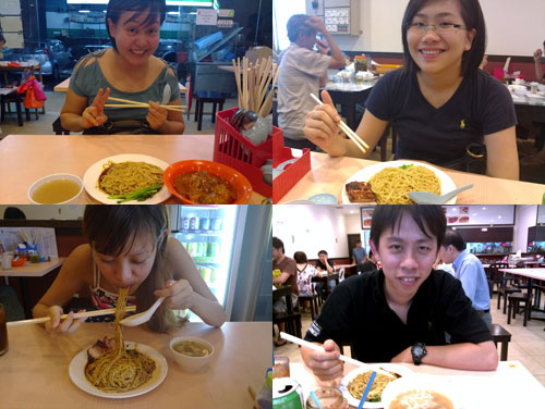 kerol, rachel, cheesie, and KY at char siew chai wantan mee