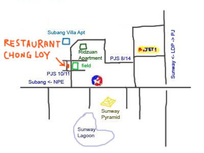 map to PJS 10, Sunway