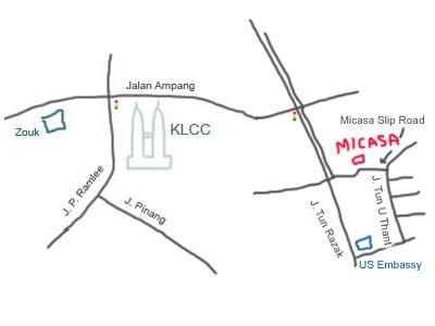 Map to Micasa Hotel, Kuala Lumpur