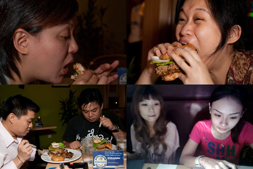kerol, kim, jeff, shiang, cheesie, and jaclyn at Cristang enjoying pork burger