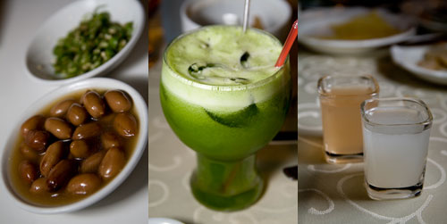braised peanuts, apple and pineapple juice, enzynme drinks