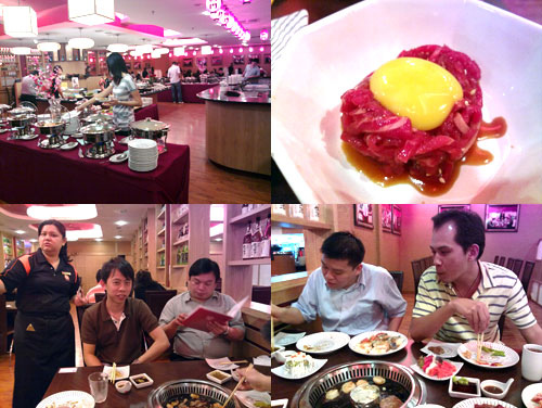 raw beef, KY, Shiang, Jeff, and Horng at Diadomon