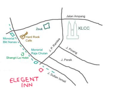 Map to Elegant Inn at Menara Hup Seng