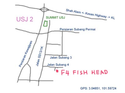 map to F4 Fish Head at Subang USJ
