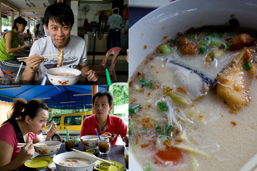 KY, Kerol, and horng having fish head noodle